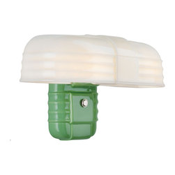 Rejuvenation: Bath - A two-bulb Streamline porcelain wall bracket originally in production from 1925-1940.  The Rufus can provide up to 200 watts of light over kitchen sinks and medicine cabinets. Shown in green, also available in white or black.