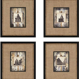 Paragon Decor - Dome Tiles Set of 4 Artwork - Tiles are shadow boxed featuring a burlap wrapped mat.  Hand mounted ribbons and tacks add an extra touch of glamour.