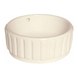 Renovators Supply - Vessel Sinks Bone Souffle Vessel Sink | 15354 - Vessel Sinks Above Counter: Made of Grade A vitreous China these sinks endure daily wear and tear. Our protective RENO-GLOSS finish resists common household stains and makes it an EASY CLEAN wipe-off surface. Ergonomic and elegant easy reach design reduces daily strain placed on your body. SPACE-SAVING design maximizes limited bathroom space. Easy, above counter installation let's you select from many faucet styles and countertop designs, sold separately. Measures 16 1/4 inch diameter