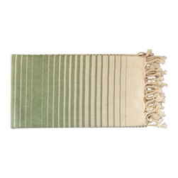 Antiochia - Antiochia Illusion Collection Bath Towel (Ecru Base), Green, 40 X 70 in. - Celebrate the Mediterranean spirit with our new collection of bath towels. Inspired by the bright beauties of nature, the unique stripe pattern is elegant and unique. Choose from 4 soft colors on ecru base and herringbone weave.
