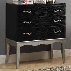 Monarch - Black Crocodile/Silver Contemporary Bombay Chest - Bring shabby chic to your home with this fabulous black crocodile leather-look crocodile chest, accented with in. S in. style handles and a rich Pewter silver bent base. This chest will add dimension and fashion to any room.