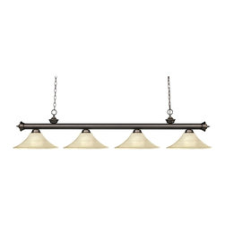 Z-Lite - Z-Lite Riviera Kitchen Island / Billiard X-61MGF-BO4-002 - Finished in old bronze, this four light bar fixture uses fluted golden glass shades to create a contemporary look with a timeless quality to it. This fixture would be perfect for the game room, or any other room of the house where a touch of under stated sophistication is needed.