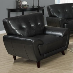 "Monarch - Black Bonded Leather / Match Chair - This modern black bonded leather chair will make a wonderful addition to your living room. Its contemporary shape enhances any room with its plush back and box seat cushions and slightly angled lines. A stitching and button tufted design enhances the look of this chair. The chic design creates an inviting feel, and solid feet provide sturdy support this piece. It is also a perfect match with the sofa and love seat.; Some assembly required; Weight: 61 lbs; Dimensions: 41""L x 35""W x 34""H"