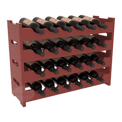 24 Bottle Mini Scalloped Wine Rack in Pine with Cherry Stain + Satin Finish - Stack four 6 bottle racks for proper storage of 24 wine bottles. This rack requires light hardware for assembly and is ready to use as soon as it arrives. Makes the perfect gift and stores wine on any flat surface.