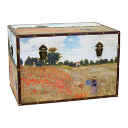 Oriental Furniture - Monet's Poppies Trunk - Claude Monet's 1873 masterpiece Les Coquelicots (or Poppies Blooming) is reproduced in exquisite detail on this stately canvas trunk. Two figures stroll through a verdant field spattered with brilliant vermilion poppies. This beautiful painting is cleverly reproduced on art-quality canvas so that it perfectly matches the dimensions of this chest. Artful wood construction provides ample storage at a minimal weight, while the durable frame and soft fabric interior protect your objects from damage. Further conveniences include an inconspicuous interior arm that holds the lid when you need the trunk open, and a pair of external closures that keep it shut tight when you don't. Expertly combining form and function, this lovingly printed art trunk will bring the vivid colors of the French countryside to your home or place of business!