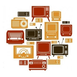 Dana Decals - Retro Televisions Set Wall Decals - This collection of television sets go great in any entertainment decor. Ideal for kids rooms, preschools, elementary schools, living rooms, and workplaces.