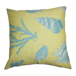 The Pillow Collection - Sada Coastal Pillow Green Blue - Vibrant colors and elegant design adorn this accent pillow. This square pillow emits a lively vibe to your interiors with its ocean-themed hues like green and blue. Decorate this throw pillow on your sofa, bed or chair to add texture and comfort. Mix and match with solids and other patterns like florals, stripes, etc. Hidden zipper closure for easy cover removal.  Knife edge finish on all four sides.  Reversible pillow with the same fabric on the back side.  Spot cleaning suggested.