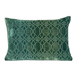 "Kevin O'Brien Studio - Links Velvet Pillow - Scroll-like lines link together across the fabric and form an undulating, ornate pattern that is reminiscent of Baroque and Art Nouveau iron work. Features: -Links collection. -Material: Velvet. -Color: Emerald. -Zip closure. -Includes a feather / down insert. -Made in USA. Dimensions: -14"" H x 20"" W x 6"" D, 2 lbs."