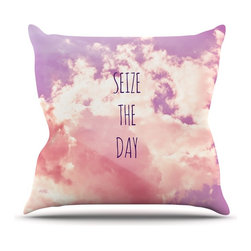 "Kess InHouse - Iris Lehnhardt ""Seize the Day"" Pink Purple Throw Pillow (16"" x 16"") - Rest among the art you love. Transform your hang out room into a hip gallery, that's also comfortable. With this pillow you can create an environment that reflects your unique style. It's amazing what a throw pillow can do to complete a room. (Kess InHouse is not responsible for pillow fighting that may occur as the result of creative stimulation)."