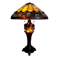 "22"" H Amber Geomeric Design Double Lit Table Lamp - In warm shades of amber and brown this beautiful double lit lamp will accent any decor. The lamp has a lit base, providing the option for not only functional lighting, but also extra ambiance."