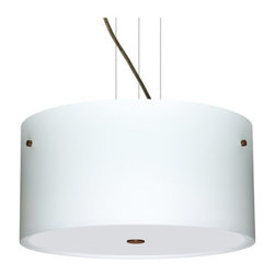 Besa Lighting - Besa Lighting 1KV-400807-LED Tamburo 3 Light LED Cable-Hung Pendant - Tamburo is a classic open-ended cylinder of handcrafted glass, a shape that will stand the test of time. Our Opal glass is a soft white cased glass that can suit any classic or modern decor. Opal has a very tranquil glow that is pleasing in appearance. The smooth satin finish on the clear outer layer is a result of an extensive etching process. This blown glass is handcrafted by a skilled artisan, utilizing century-old techniques passed down from generation to generation. The cable pendant fixture is equipped with three (3) 10' silver aircraft cables and 10' AWM cordset, and a low profile flat monopoint canopy.Features: