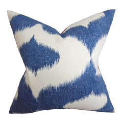 """The Pillow Collection - Leilani Ikat Pillow Blue Denim - Spice up your rooms with this artsy throw pillow. This accent piece will surely get noticed with bold blue denim ikat pattern on a white background. This 18"""" throw pillow creates a cozy and homey vibe to your indoor space. Crafted with a blend of materials: 55% linen and 45% rayon fabric. Hidden zipper closure for easy cover removal.  Knife edge finish on all four sides.  Reversible pillow with the same fabric on the back side.  Spot cleaning suggested."""
