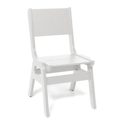 Loll Designs Curve Dining Chair - White - The new Alfresco dining chair will help get everything out of the way when your outdoor dinner party turns into an outdoor dance party. Made with a heavy 1 inch thick poly frame, these stackable and durable chairs will never blow away... or shake-off the deck from all the thumping.