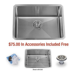 """Miseno - Miseno 23"""" Undermount Single Basin Stainless Steel Kitchen Sink 16G - Included Free with Your Miseno Sink:"""