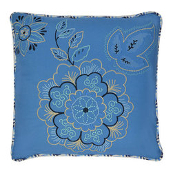 Waverly - Charismatic Delft 18 x 18-Inch Reversible Embroidered Decorative Pillow - - Refresh in room in your home with classic decorative accessories by Waverly�. This intricately embroidered pillow features modern flowers in shades of blue and white on a solid royal blue ground  - Pillow reverses to ombre chevron pattern  - Measures 18-Inch x 18-Inch  - 100% prewashed cotton  - Spot Clean Only Waverly - 13966018X018DFT