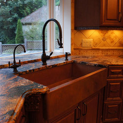 Copper Farmhouse Sink by Rachiele - Copper apron farm sink with Fire and Ice patina by Rachiele and a Waterstone traditional pull down faucet, hot/filter faucet and soap dispenser in black oil rubbed bronze finish.