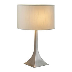 Adesso - Adesso Luxor Tall Table Lamp - Each elegant pyramid shaped square steel base has a white silk-like fabric drum shade. Three-way rotary socket switch. Takes 150 Watt incandescent or three-way CFL bulb. 28.5 in Height, 9 in Square base. Shade: 11 in Height, 17.5 in Diameter.