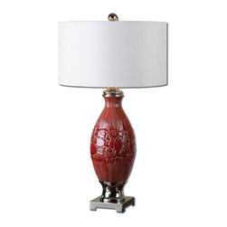 Uttermost - Malabar Red Glaze Table Lamp - Decorative Ceramic Finished In A Distressed Burnt Red Glaze Accented With Polished Nickel Plated Details. The Round Hardback Shade Is An Ivory Linen Fabric.