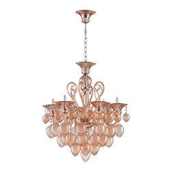 Cyan Design - Cyan Design Bella Vetro Transitional Chandelier X-30550 - Intricate curled arms and beautifully detailed bobeches are paired with large, exaggerated tear drops on this Cyan Design chandelier. From the Bella Vetro Collection, this breathtaking transitional chandelier features elegant blush colored glass, which dazzles whether the fixture is lit or not.