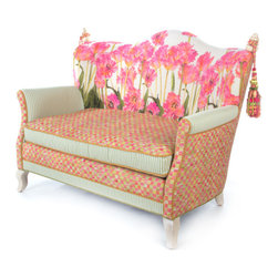 Tulip Loveseat | MacKenzie-Childs - Like sitting in an impressionist painting; a truly exquisite experience. Dreamy watercolor florals in verdant and blush tones, ticking stripes, checked accents and piping, and vines and bright blossoms that pop. Even if you reside in the harshest of concrete jungles, Tulip Furniture provides a respite as welcome and inviting as the secret garden you've long imagined. Equally sublime as a separate seat or grouped together.