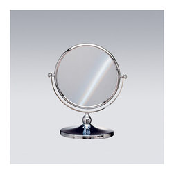 "Windisch by Nameeks - 12.2"" Free Standing 3X Magnifying Mirror - A luxurious free stand magnified mirror made in high-quality brass and coated with chrome or gold. This makeup magnifying mirror from the Windisch Stand Mirrors collection is a contemporary-style optical mirror that is perfect for your decorator bath. Features: -Double face magnifying mirror. -3x magnification. -Available in chrome and gold finishes. -Brass and glass construction. -Free standing. Specifications: -Mirror surface dimensions: 7.5"" Diameter. -Overall dimensions: 12.2"" H x 8.3"" W x 8.3"" D."