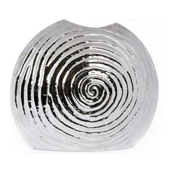 """Concepts Life - Concepts Life Decorative Vase  Peaceful Gale  15"""" - This peaceful gale vase is perfect as a decorative piece on your mantle or as a functional, unique vase for fresh or faux flowers. Features a whimsical swirling pattern and designed from lustrous aluminum.  Textured aluminum vase with silver finish Beautiful lines and high polish Comes in a variety of shapes and sizes Dimensions: 15""""l x 5""""d x 13""""h Weight: 5 lbs Imported"""