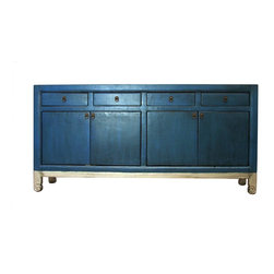 Madera Home - Anatole Blue and Silver 4 Door 4 Drawer Tall Sideboard - Our collection of sideboards and buffets are built of beautiful elm wood reclaimed from buildings and furniture pieces that graced the eclectic Qing dynasty. Each piece is meticulously hand built and finished by time-honored craftsman utilizing over 120 different processes. A gorgeous addition to your dining room, stunning under your flat panel television, or the focal point of the master suite.