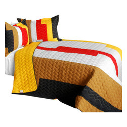 Blancho Bedding - Classic Playbook - B Cotton Vermicelli-Quilted Patchwork Striped Quilt Set - Q - The [Classic Playbook - B] Cotton Vermicelli-Quilted Patchwork Striped Quilt Set - Q includes a quilt and two quilted shams. This pretty quilt set is handmade and some quilting may be slightly curved. The pretty handmade quilt set make a stunning and warm gift for you and a loved one! For convenience, all bedding components are machine washable on cold in the gentle cycle and can be dried on low heat and will last for years. Intricate vermicelli quilting provides a rich surface texture. This vermicelli-quilted quilt set will refresh your bedroom decor instantly, create a cozy and inviting atmosphere and is sure to transform the look of your bedroom or guest room. (Dimensions: Full/Queen quilt: 90.5 inches x 90.5 inches; Standard sham: 24 inches x 33.8 inches)