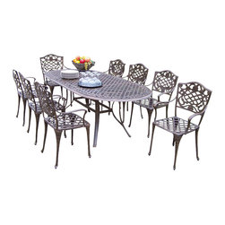 """Oakland Living - Oakland Living Mississippi 82 x 42"""" Oval 9-Piece Dining Set in Antique Bronze - Oakland Living - Patio Dining Sets - 210521129AB - About This Product:"""