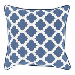 Lattice Tile Throw Pillow in Blue - Relax in style with this graphic, boho tile-inspired throw pillow. Its patterned motif gives any room a hint of modern romance and global design.