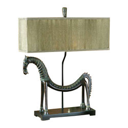 Uttermost Tamil Horse Table Lamp - Heavily antiqued gold leaf with a bronze base. This creative horse lamp is finished in an olive bronze with a verdigris glaze. The rectangle box shade is pleated silken champagne.
