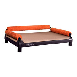DoggySnooze - snoozeSofa, Anodized Frame, 3 Bolster Org - If you spend half your time coaxing your pampered pooch off your couch, here's a sofa just for him. Elevated for comfort, with three sturdy bolsters to support him, this stylish dog bed comes in a selection of colors to complement your home or office decor. Made in the USA and available in three sizes, with optional black anodized frame, long legs and memory foam.