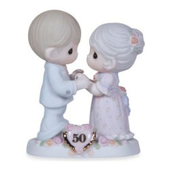 Precious Moments - Precious Moments  We Share A Love Forever Young 50th Anniversary Figurine - This figurine depicts a couple honoring their 50th wedding anniversary. Bisque porcelain figurine.