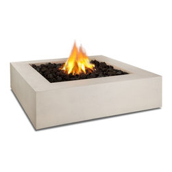 "Real Flame - Real Flame Mezzo Square Propane Fire Pit - Antique White - Define your outdoor space with the clean design of a Real Flame Mezzo Square Fire Table. Cast from a high performance, lightweight fiber-concrete with an outdoor safe finish, this fire table comes complete with lava rock filler and a weatherproof cover for when the table is not in use. The Mezzo Collection carries an ETL Certification and features an electronic ignition. Collection available in Flint Grey or Antique White finishes.-Burns Liquid Propane, rated at up to 60,000 BTUs of heat-Certified for use with standard 20lb LP tank, for up to 7 hours (high setting) or 22 hours (low setting) of burn time.-Cast from painted fiber-concrete and heavy gage steel.-Limited Warranty: 90 days on fiber-concrete finish, 1 year for all components-Basic assembly required-Assembled Dimensions: 42.25"" L x 42.25"" W x 11.5"" H; 134 lbs.-Includes: LP fire table, 60,000 BTU circular burner, medium black lava rock, electronic ignition, leveling feet, 8 gas hose, tank seat for 20lb. LP cylinder, vinyl cover"