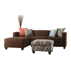 Adarn Inc. - Soft Microfiber Sectional Sofa Set, Chocolate, 2 Pc Sofa Set - Simplistic and modern crafted living room furnishings covered in smooth microfiber, this 2-piece sectional features a reversible chaise and solid wood legs in a deep brown. This lovely piece also includes double-sided accents pillows with a floral and a solid colored side. Available in dark chocolate and charcoal. 4 Pcs Free Accent Pillows included.