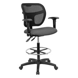 Flash Furniture - Mid-Back Mesh Drafting Stool with Grey Fabric Seat and Arms - Drafting Stools can be used in a multitude of environments including School, Work and for the Home. Drafting stools makes it easier for the user when they need or prefer more height to comfortably get in and out of chairs. The breathable mesh back keeps you cool when sitting for long periods of time. The firm, comfortably padded seat will keep you at ease during work or while leisurely browsing.