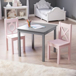 Lipper Hugs and Kisses Table and 2 Chair Set - Gray & Pink - Tea parties or craft projects will be more enjoyable when she's seated at the Lipper Hugs and Kisses Table and 2 Chair Set - Gray & Pink. Inspired by interior designer Robyn Karp and her love of color and geometry this set is crafted of quality engineered wood and finished in an on-trend shade of gray and girlie pink this three-piece set will last all through their childhood and beyond. The chairs support up to 200 lbs. About Lipper InternationalLipper International provides exceptionally valued kitchen home & office organizers including the Soho Spice Collection; single serve coffee pod organizers; kitchen pantryware cutting boards and tools; serving & entertaining accessories; and children's furniture and toy chests. Lipper uses the finest quality materials including stainless steel bamboo acacia wood chrome- and powder-coated metals and other fine quality hard woods. Known for product functionality as well as beauty and quality craftsmanship Lipper International combines quality style service and price into every product and collection it offers.