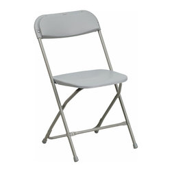 Flash Furniture - Flash Furniture Hercules Premium Plastic Folding Chair in Gray - Flash Furniture - Folding Chairs - BHD0001GYGG - Plastic folding chairs are the choice of many event planners for their lightweight design ease of cleaning and versatility among events. This portable folding chair can be used for Banquets Parties Graduations Sporting Events School Functions and in the Classroom. This chair will be the perfect addition in the home when in need of extra seating to accommodate guests. Constructed of lightweight textured polypropylene and a strong steel frame these folding chairs will suit most any occasion.