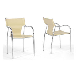 Baxton Studio - Harris 2-piece Ivory Modern Dining Chair Set - This clever, contemporary dining chair set gives off sparks around any dining table, resulting in beautiful, modern dining room decor. Each chair is made with a durable steel frame featuring a high-shine chrome finish and non-marking feet.
