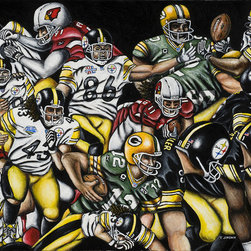 Steeler's Super Bowls Print (3 of 3 in a series) - A representation of special moments from Super Bowls XLIII, XLV.