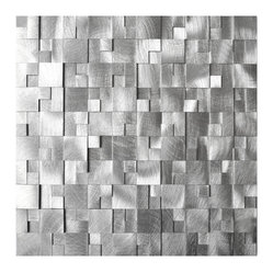 Eden Mosaic Tile - 3D Raised Cobblestone Pattern Aluminum Mosaic Tile, Sheet - Like an aerial view of a futuristic cityscape, these brushed aluminum tiles patch together a three-dimensional network of silver squares and rectangles. Consider them a superb selection for your kitchenscape. Samples are approximately 1/6 to 1/4 of a regular sized sheet. Please note: Sample tiles are not returnable. Only one sample per style is allowed. Only five samples may be ordered.