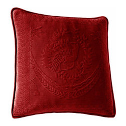 Historic Charleston Collection - King Charles Matelasse Scarlet 20-Inch Square Decorative Pillow-Only - - Steeped in Historic Charleston?s rich classic style and decorative arts culture the King Charles 100% cotton matelass� bedding collection offers a unique blend of European Caribbean and Asian influences.   - King Charles matelass� bedding offers a luxuriously soft bedspread coverlet bed skirt shams and decorative accent pillows featuring classic 19th century motifs representing the sun a topiary a pheasant and a pineapple.   - The superior design of the King Charles matelass� bedding ensemble can be traced back to England circa 1820 incorporating key influences from that time period including the fine arts and superior craftsmanship.   - Each piece is crafted individually on special weaving looms to create the luxurious design that defines this lovely matelass� bedding collection.   - Highs and lows created during the jacquard weaving process allow the intricate designs and motifs to come to life.   - Designs from the archives of Historic Charleston?s heritage were interpreted to create the lovely King Charles bedding set.   - Rolling arches half-moons double diamonds and scrolling vine details wrap around the classic topiary pheasant sun and pineapple motifs.   - Coverlet and bedspread drape beautifully over the bed to reveal rounded corners.   - Pair the bedspread or coverlet with bed skirt to create a complete look.   - Add coordinating decorative shams and pillows to create the ultimate bedroom oasis.   - The heavy-weight stonewashed matelass� of King Charles bedding ensures life-long durability and style for generations to come.   - Crafted in Portugal.   - Stone-washed.   - 100% cotton matelass�.   - The Historic Charleston Foundation was established in 1947 and is a nonprofit organization whose mission is to preserve and protect the historical architectural and material culture that make up Charleston?s rich and irreplaceable heritage.   - No decorative o