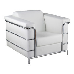 Euro Style - Leonardo Leather Arm Chair - White Leather/Chrome - This is a very space efficient workstation. Epoxy coated steel in either a graphite/smoked look or in bright aluminum and frosted glass the L desk has room for all the necessities and all the niceties that make it comfortable, functional and space saving.