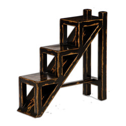 Uttermost - Asher Black Stepped Accent Table - Solid mango wood distressed to look like its been in your grandmother's attic for ages. The one giveaway is the design — modern, sleek and hardly retro.