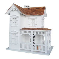 Home Bazaar - The Farmhouse Birdhouse - All the charming details you love about a classic farmhouse, lovingly reproduced for your feathered friends. Built to last of western red cedar roof and kiln-dried pine, it's likely to attract wrens, chickadees and titmice who will delight you with their songs and soaring all season long.