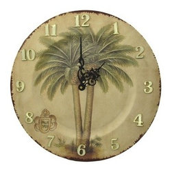 Palm Tree Plate Wall Clock 13 In. - This beautiful resin wall clock features a pair of tropical palm trees in the center, over a neutral color, and is shaped like a plate. It measures 13 inches in diameter and has raised gold numbers and contrasting black decorative hands to mark the time. The clock features quartz movement and runs on 1 AA battery (not included). It is a wonderful addition to kitchens, or any room in the house.