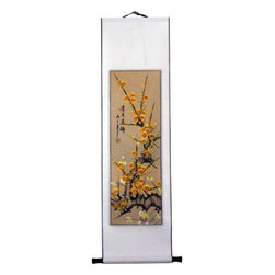 Oriental-Decor - Yellow Cherry Blossoms Chinese Scroll Painting - One of the latest editions to our beautiful line of Chinese scroll paintings, this marvelous piece features a rare depiction of yellow cherry blossom flowers. Yellow is the color of enlightenment, optimism and happiness in Asian culture. It carries the promise of hope and promotes positive energy. In China, cherry blossoms symbolize feminine beauty and in Japan they represent the transient nature of life due to their short blooming season. Add a vibrant decorative look to any wall with this special yellow blossom Chinese scroll painting.
