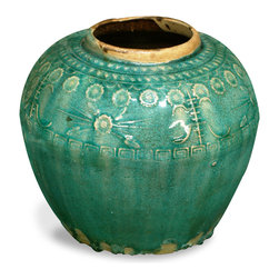 China Furniture and Arts - Antique Ceramic Jar, Geometric - Discovered in northern China, this antique jar is estimated to be about 150 years old. The jar was crafted and glazed by hand and decorated in a traditional style with interesting Chinese geometric designs. As ceramic lasts forever, it can now be appreciated either as pure decoration or for its continued practical function. A single, one-of-a-kind piece.