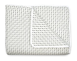 OLLI+LIME - Mini Triangle Crib Quilt - Soft cotton crib quilt in black and white triangle design. Contrasting piping and logo detail. Polyfill insert.