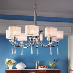 Joshua Marshal - Eight Light Chrome Up Chandelier - Eight Light Chrome Up Chandelier